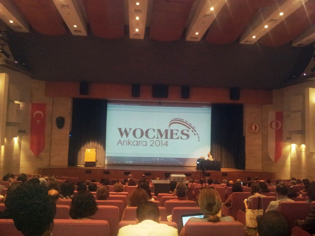 """Samir Amin giving the WOCMES keynote speech on the """"Implosion of the Neoliberal Globalization and Its Effects on the Middle East Regions"""" (Photo credit: Faris Nadhmi, 2014)"""