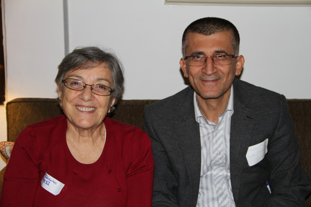Lucine Taminian, Resident Director of TAARII, and Abubakir Majeed, from Hawler Medical University, Erbil, at the Arab Regional Workshop Reception, ACOR (Photo Credit: Barbara Porter, October 2014)