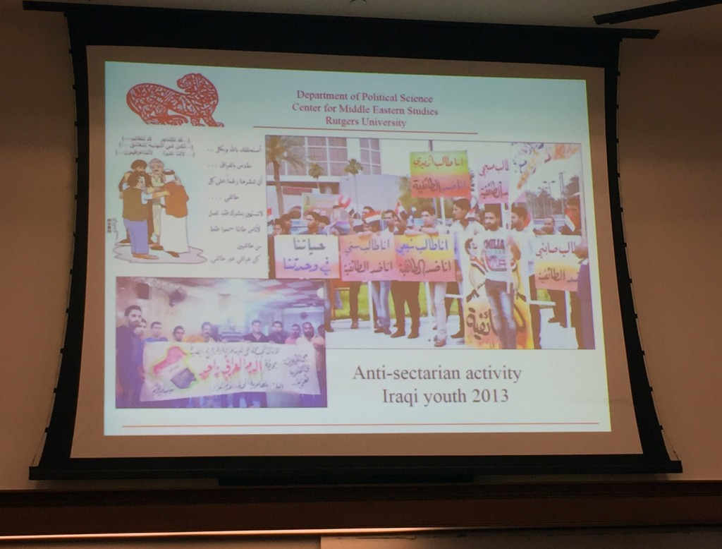 "Slide presentation by Dr. Eric Davis, ""Anti-Sectarian activity, Iraqi youth 2013"" (Photo Credit: Alda Benjamen, 2015)"