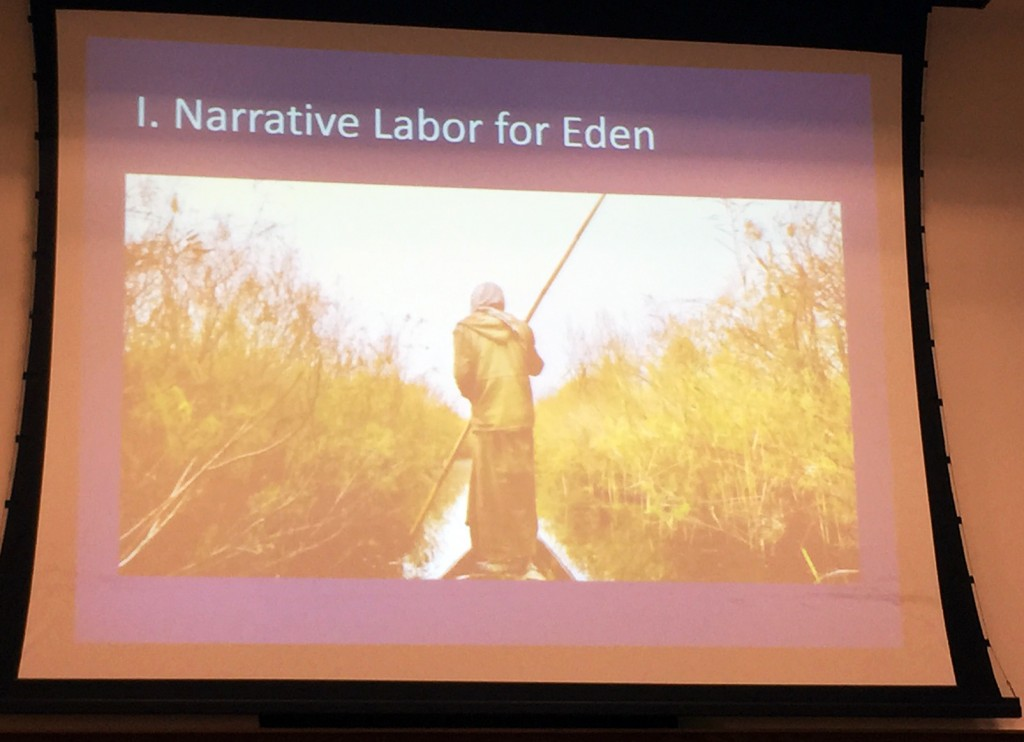 "Slide presentation by Dr. Bridget Guarasci, ""Narrative Labor on Eden"" (Photo Credit: Alda Benjamen, 2015)"
